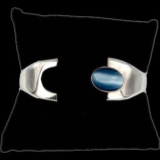 Mexico Sterling Silver Blue Druzy Crystal Opal Cat's eye Bracelet
