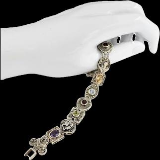 Sterling Silver Mid Century Multi-Color Gemstone Slide Charm Bracelet