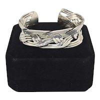 Mexico Sterling Taxco Geometric Weave Cuff Bracelet