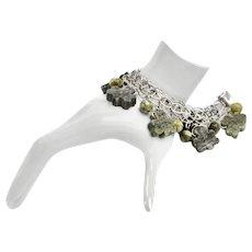 Ireland Sterling Silver Carved Connemara Marble Shamrock Charm Bracelet