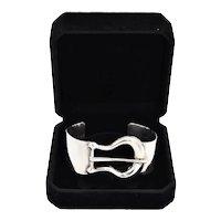 Taxco Mexico Sterling Silver Wide Buckle Cuff Bracelet