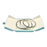Mexico Sterling Silver Turquoise Triple Bangle Bracelet