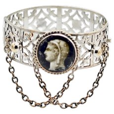 French Sterling silver Vermeil Lady Liberty Marianne Cameo Pierced Bracelet