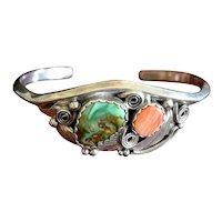 Southwestern Justin Morris Navajo 95 Artisan Sterling Silver Multi-Stone Cuff Bracelet