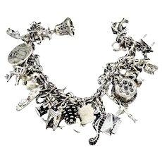 Vintage Chunky 78 Grams Sterling Silver Celebration of Life & Love Charm Bracelet