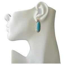 Sterling Silver Earrings Kingsman Turquoise Gemstone Oval Drop Pierced