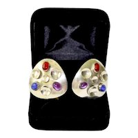 80's Brutalist Artist Lynda Thorp Sterling Silver Multi-Gemstone Pierced Earrings