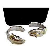 Artisan Sterling Earrings 14k Gold Plate Snake J-Hook Clip Signed