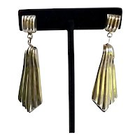 Mexico Sterling Earrings Dangle Ribbed Large Diva Pierced Vintage Signed