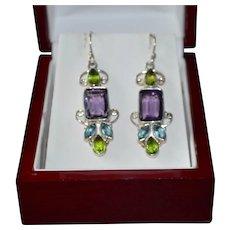 Sterling Silver Emerald Marquise Cut Glass Bezel Dangle Earrings