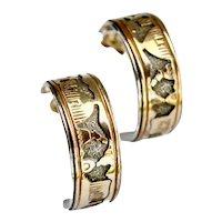Native Navajo Signed Sterling Silver 12K GF Storyteller J-Hoop Pierced Earrings