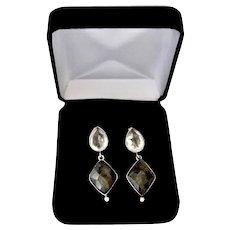 Sterling Silver Pierced Mineral Quartz Moss Green / Clear Dangle Earrings