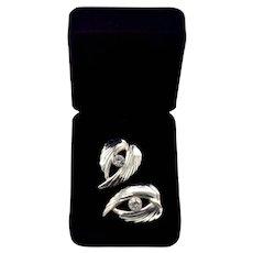 Mexico Sterling Modernist Embossed Wings Earrings CZ Stone Pierced