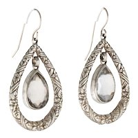 Embossed Floral Sterling Silver Quartz Dangle STEPHEN DWECK  Designer Earrings