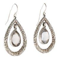 Embossed Floral Sterling Silver Quartz Dangle STEPHEN DWECK  Designer Earrings