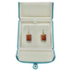 Sparkling Copper Goldstone Crystal Sterling Silver Pierced Earrings