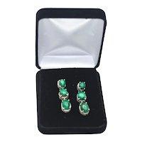 Sterling Silver Green Malachite 3 Gemstone Drop Earrings Pierced