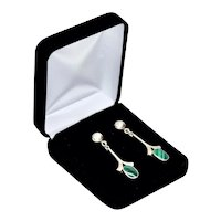 Sterling Silver Taxco Mexico Modernist Malachite Drop Earrings