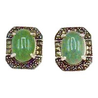 Sterling Silver Green Chrysoprase Gemstone Marcasite Pierced Earrings