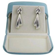 Tiffany & Co Sterling Silver Jabot Style Linear Dangle Earrings
