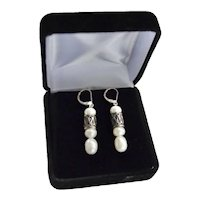 Sterling Cultured Freshwater Baroque Pearl Dangle Earrings