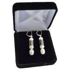 Sterling Cultured Freshwater Baroque Pearl Dangle Earrings