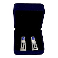 Sterling Silver Lapis Modernist Geometric Dangle Pierced Earrings