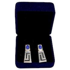 Sterling Silver Lapis Modernist Geometric Dangle Pierced Earrings