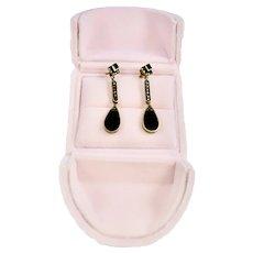 Sterling Silver Art Deco Style Black Onyx Marcasite Dangle Earrings