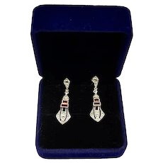 Victorian Style Marcasite Ruby Crystal  Sterling Silver Dangle Earrings
