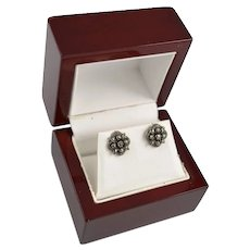 Vintage Sterling Silver Rose Cut Marcasite Floral Earring Studs