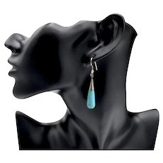 Sterling Silver High Polished Turquoise Tear-Drop Pendant Earrings