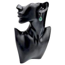 Sterling Silver Malachite Oval Cabochon Set Drop Earrings