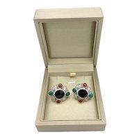 Vintage Cabochon Gemstone Sterling Silver Pierced Earrings