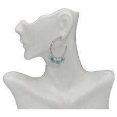 Modernist Southwest Style Silpada Sterling Turquoise Hoop Earrings