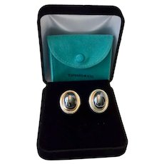 Tiffany Paloma Picasso Large Hematite Cabochon Sterling Earrings