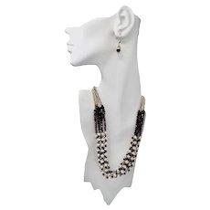 Sterling Silver Garnet Beaded Multi-Strand Bib Style Necklace Earrings