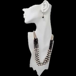 Sterling Silver Garnet Beaded Multi-Strand Bib Style Necklace