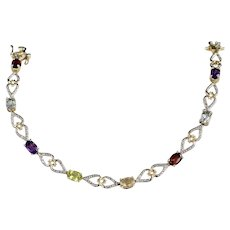 Sterling Silver Vermeil Multi-Gemstone Set Tennis Bracelet