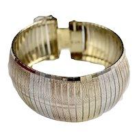"Italian Sterling Gold Vermeil Chased Wide 1-1/4"" Bangle Bracelet"
