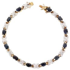Sterling Silver Vermeil Sapphire Diamond Pave Tennis Bracelet