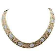 Modernist Sterling Silver 14K Vermeil Tri-Gold Italy Reversible Brushed Finish