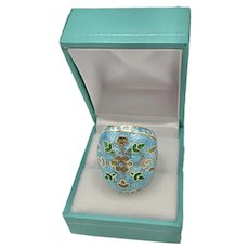 Vintage Sterling Gold Vermeil Turquoise Guilloche Enamel Dome Ring