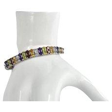 Multi-Gemstone Double Row Sterling Silver Tennis Bracelet