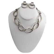Chunky Sterling Silver Solid Oval Link Necklace 127 Grams
