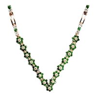 Sterling Necklace 5.45 Carats Emerald Rosettes 4.0 Carat Topaz Accent
