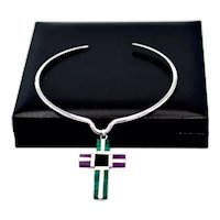 Modernist Mexico Sterling Amethyst Malachite Cross Pendant Necklace
