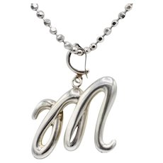 Modernist Sterling Silver Triple Loop Initial Pendant Necklace Italy