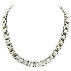 Chunky Taxco Mexico Sterling Silver Ribbed Link Necklace 83 Grams
