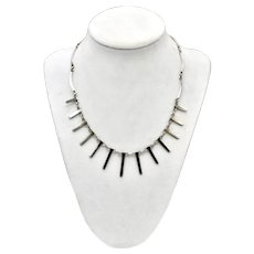 Sterling Silver Modernist Bar Fringe Wave Link Necklace